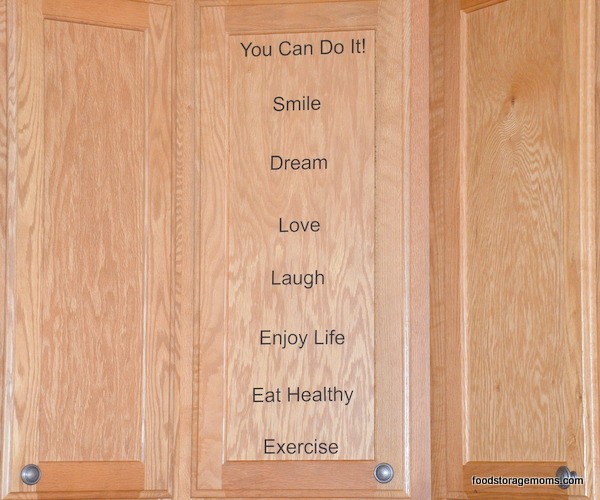Cabinet Door With Inspirational Words