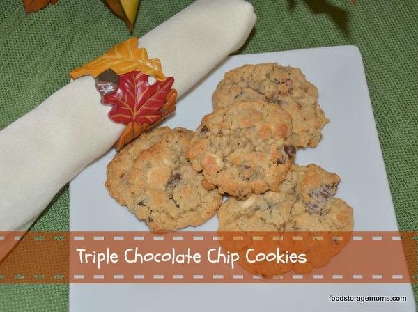 Triple Chocolate Chip Cookies by FoodStorageMoms