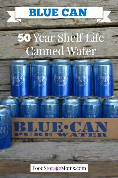 50 year shelf life canned water blue can pure water. Black Bedroom Furniture Sets. Home Design Ideas