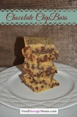 Easy To Make Chocolate Chip Bars-moist and chewy by FoodStorageMoms.com