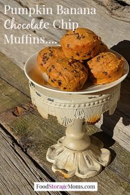 Pumpkin Banana Chocolate Chip Muffins by FoodStorageMoms.com