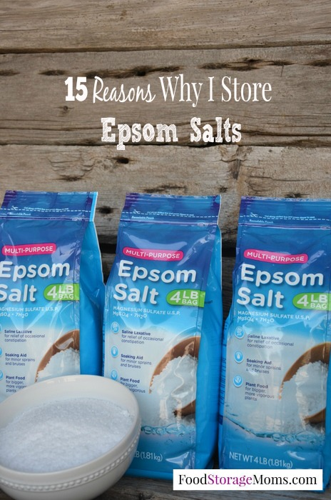 15 Reasons Why I Store Epsom Salts | via www.foodstoragemoms.com