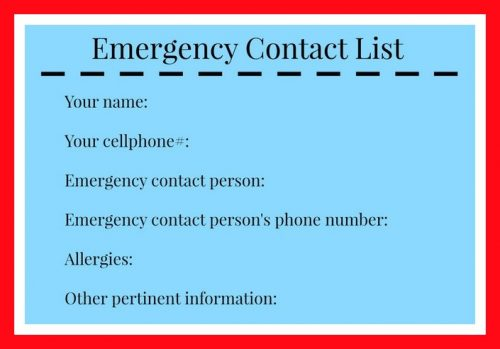 Emergency Hiking List
