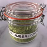 Cucumber powder in a jar