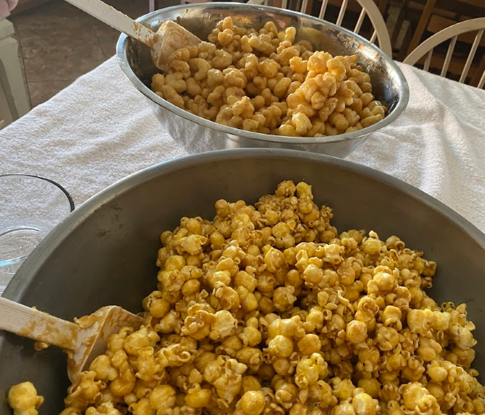 Caramel Corn in large silver bowls