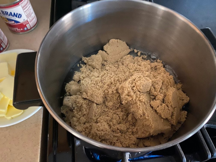 Boil the brown sugar and corn syrup