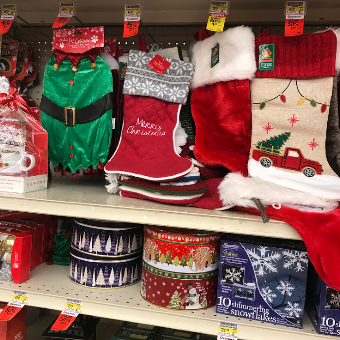 Christmas decorations marked down on clearance