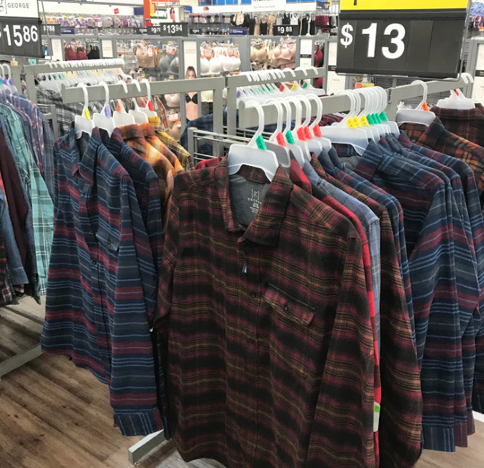 Shelves full of winter clothes on sale