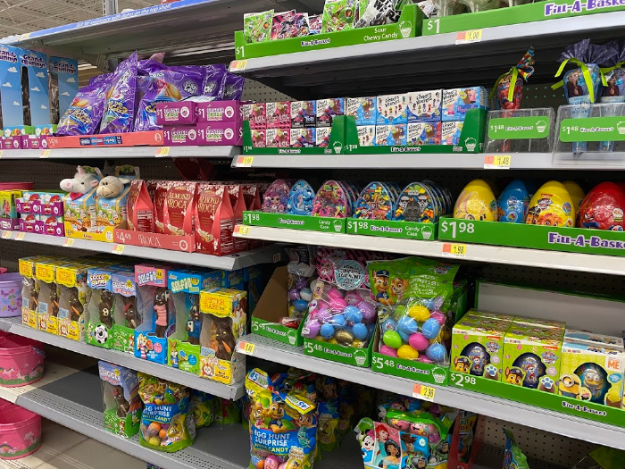 Candy stocked on grocery shelves