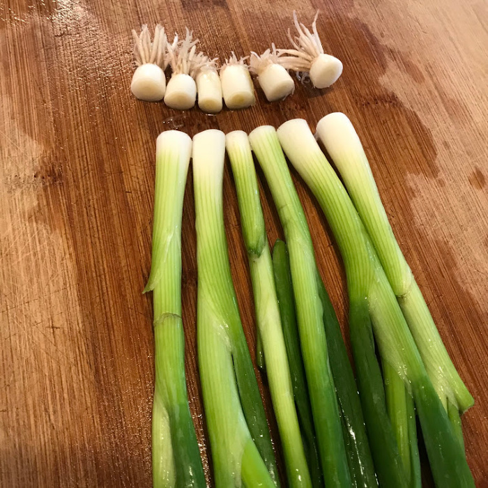 Cutting Green Onions on Board