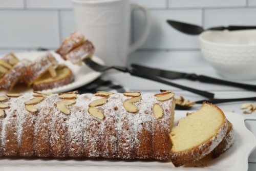 Almond Cake On White Plate Ready to Serve