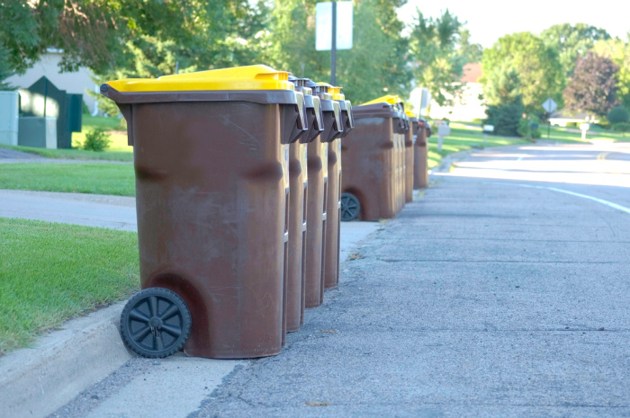 Garbage cans on the street