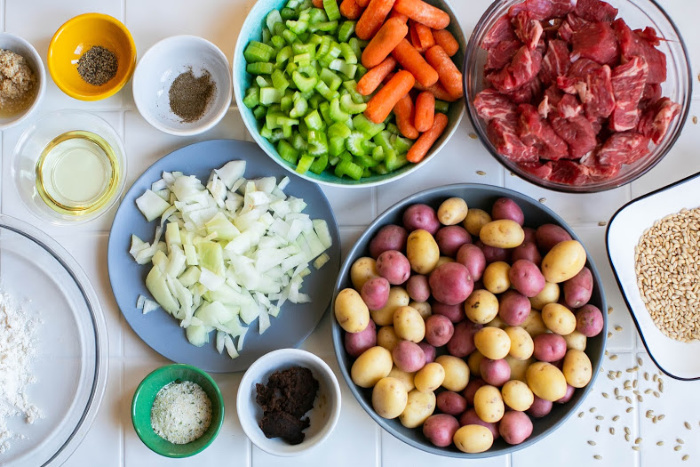 Start by gathering all of the ingredients for the soup
