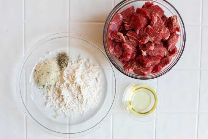 Grab the flour and the meat to dredge in the flour