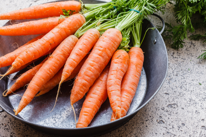 Danvers Carrots in a galvanized pan