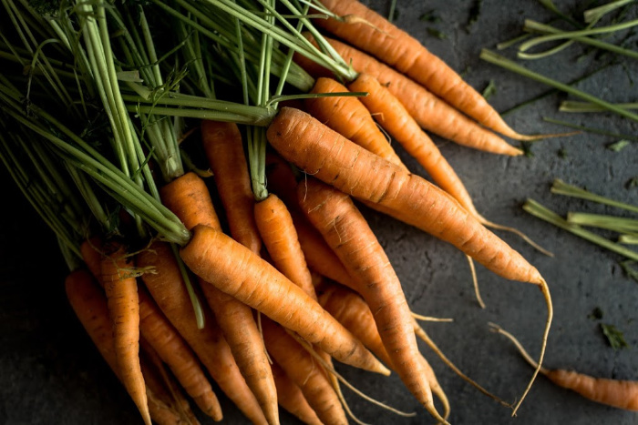 Nantes Carrots on wood plank