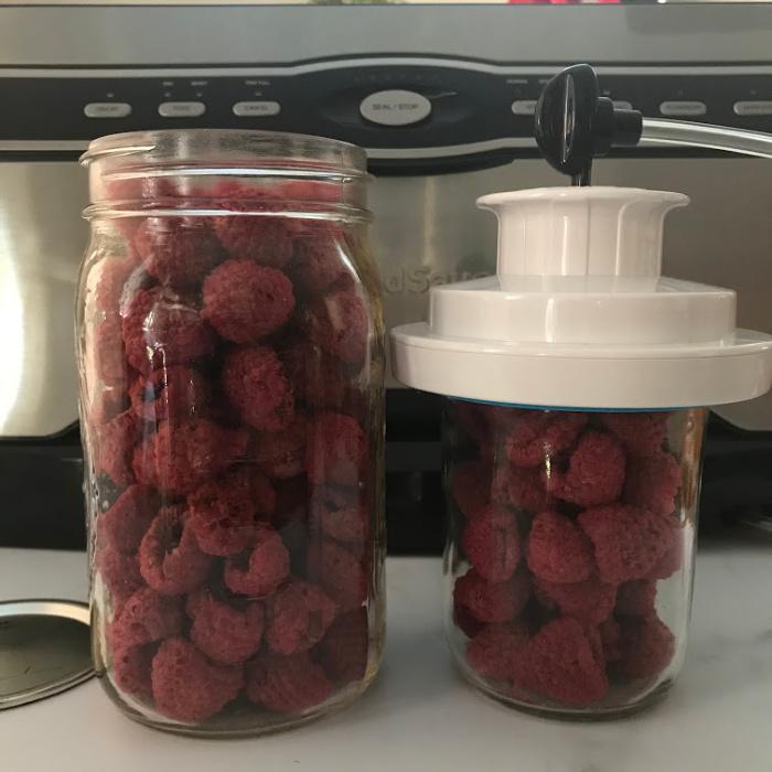 Dehydrated Raspberries in Jars