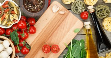 Cooking with food on a wooden tray
