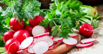 Radishes on a board