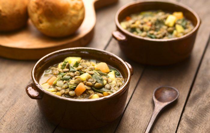 Lentils in a soup bowl