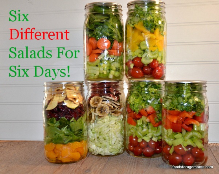 6 Salads in Mason Jars