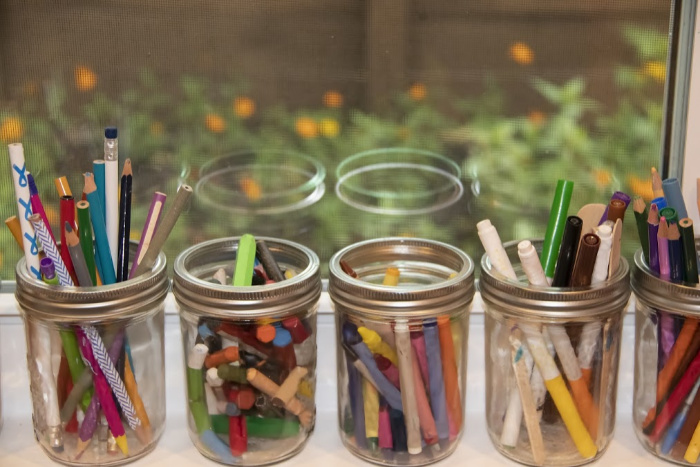 Pencil holders with Mason Jars