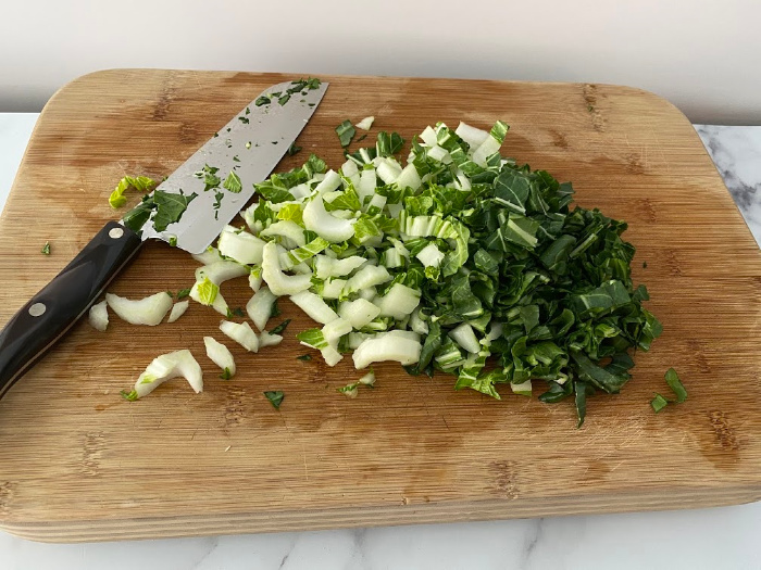 Chopping Bok Choy