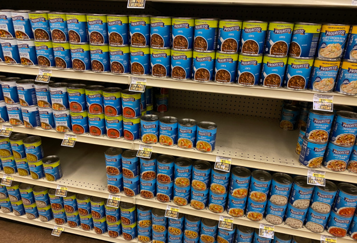 Canned Beans On Shelves