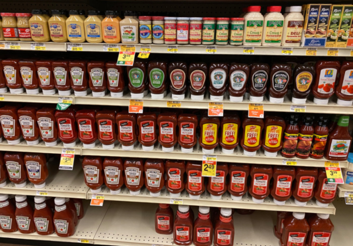 Jar of Ketchup on Grocery Shelves