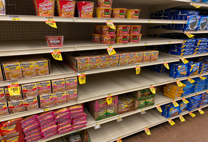 Dried Noodles on Shelves