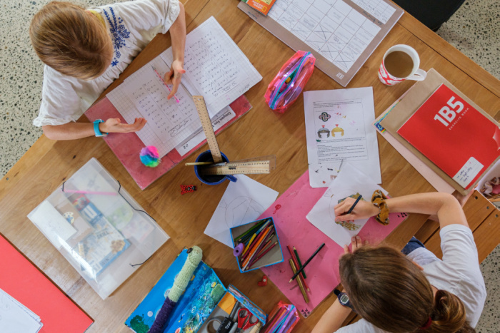 Homeschooling with a table