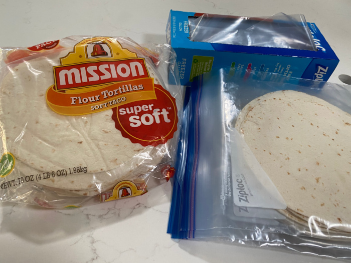 Flour Tortillas in Baggies
