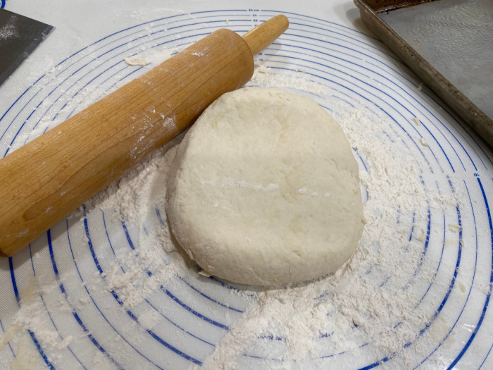 Knead the biscuit dough