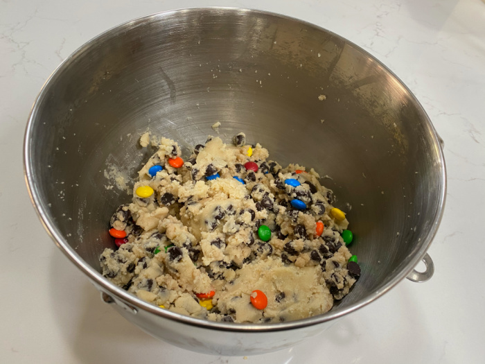 Add the flour, M & M's, and Chocolate Chips