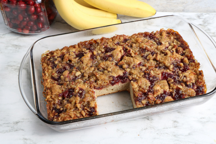 Baked Cranberry Banana Coffee Cake