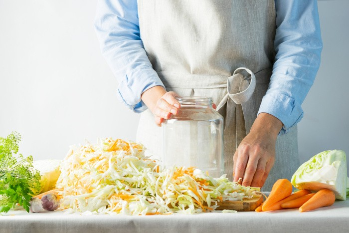 Fill the jars with Cabbage and Carrots