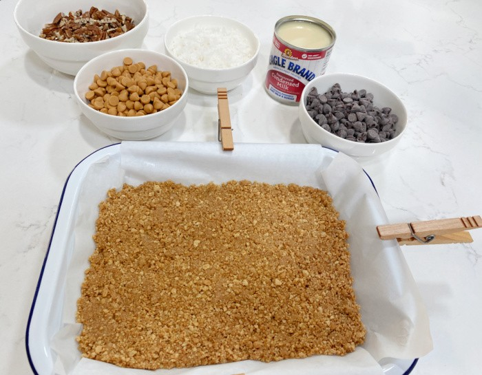 Press the crumb mixture into the pan