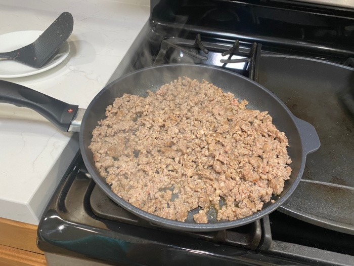 Frying the ground beef