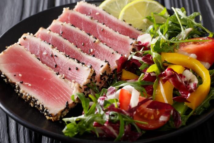 Sliced Tuna Steak on a Plate