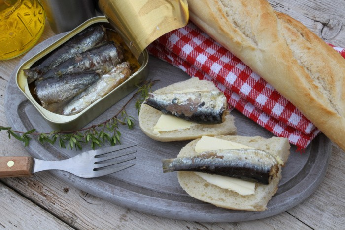 Sardines on a Plate With French Bread