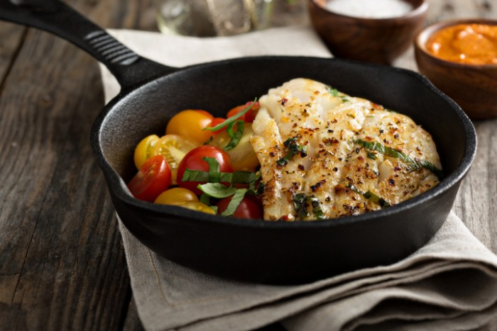 Grilled Cod in Cast iron pan